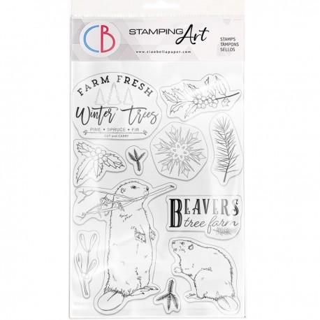 "Clear Stamp Set 6""x8"" Beavers Tree Farm"
