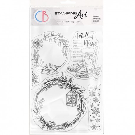"""Clear Stamp Set 6""""x8"""" Wreaths & Mulled Wine"""