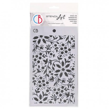"Texture Stencil 5""x8"" Winter Flowers"