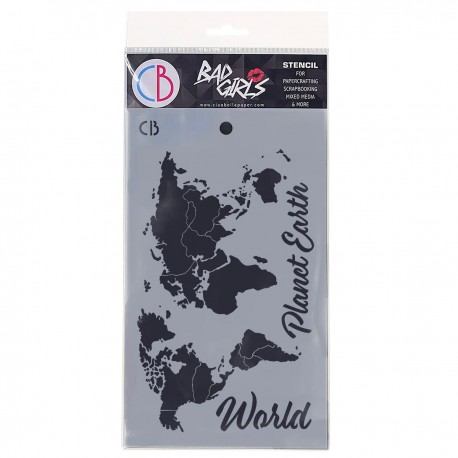 "Texture Stencil 5""x8"" World Map"