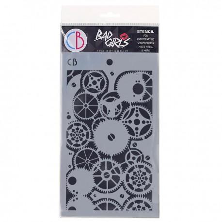 """Texture Stencil 5""""x8"""" Clock Gears"""