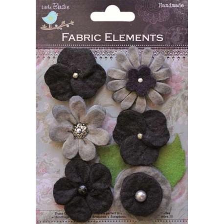 6 Flores de Fieltro grandes, Negro