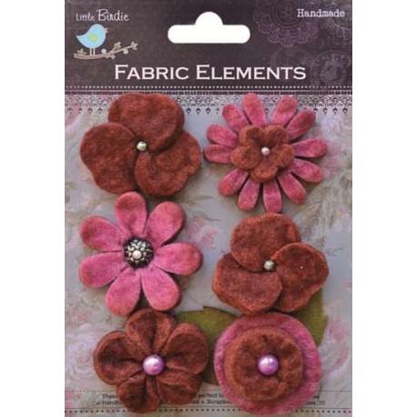 6 Flores de Fieltro grandes, Rojo
