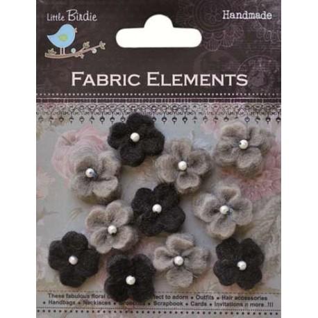 13 Flores de Fieltro pequeños, Negro