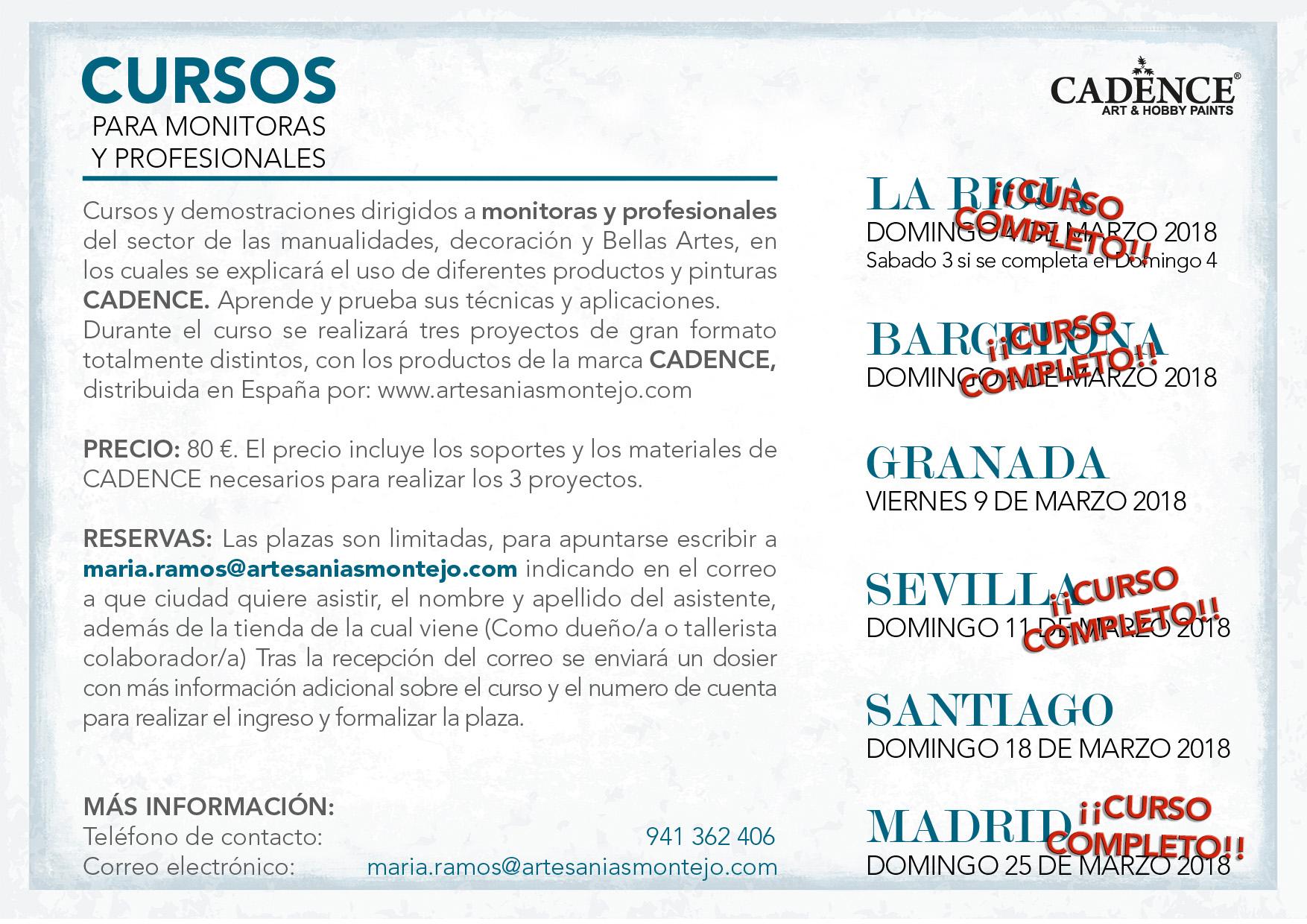 Cursos Cadence Para Profesionales 2018 Blog De Artesan As Montejo ~ Cursos De Manualidades En Madrid